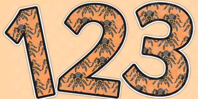 Tarantulas Themed Display Numbers - tarantulas, display, numbers