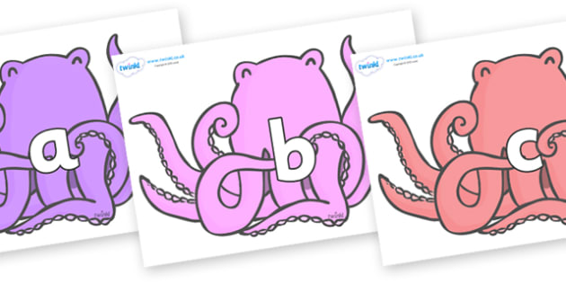 Phase 2 Phonemes on Octopus to Support Teaching on The Rainbow Fish - Phonemes, phoneme, Phase 2, Phase two, Foundation, Literacy, Letters and Sounds, DfES, display
