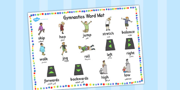Gymnastics Instructions Word Mat Arabic Translation - arabic