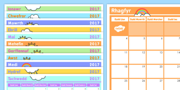 Calendr - welsh, calendar, days, dates, weeks, months