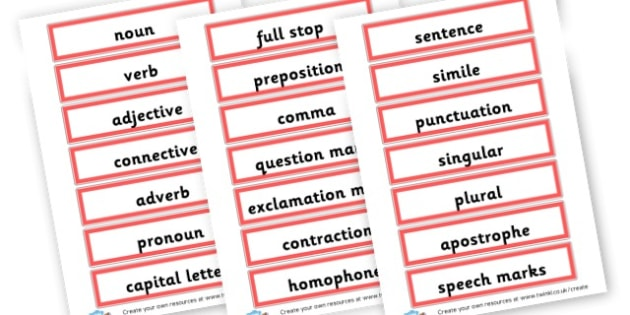 Grammar Vocabulary Cards - Grammar Visual Aids Primary Resources, grammar, aids, activities