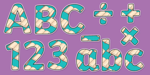 Book Themed Display Letters and Numbers Pack - book, display lettering, English lettering, English display, English display lettering