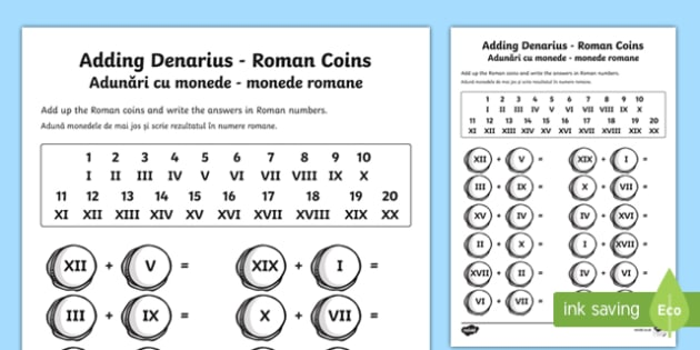 Roman Coins Addition Activity Sheet English/Romanian