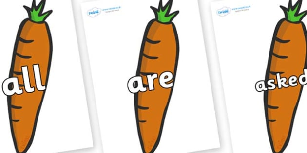 Tricky Words on Carrots - Tricky words, DfES Letters and Sounds, Letters and sounds, display, words