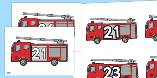 Numbers on Fire Engines 21-30 - numbers, fire engines, 21-30, fire, engine