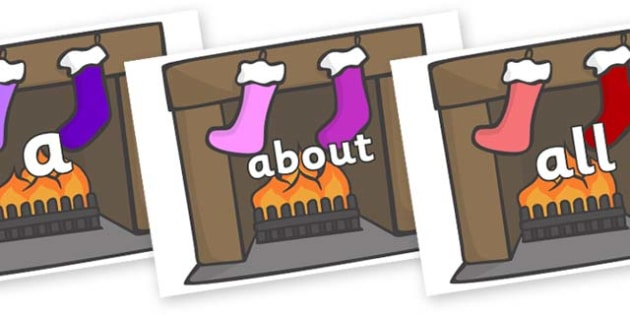100 High Frequency Words on Fireplace & Stockings - High frequency words, hfw, DfES Letters and Sounds, Letters and Sounds, display words