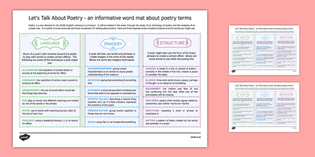 Let's Talk About Poetry Word Mat - English, GCSE, English Literature, KS3, KS4, Poetry, Poetry Techniques, Poetry Terminology, Keywords, Word Mat
