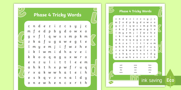 Phase 4 Tricky Words Word Search