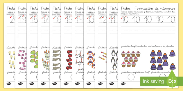 Spanish market translation suggestions KS1 ficha de formación de números-Spanish