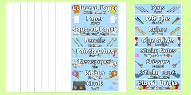 Classroom Equipment Tray Labels Romanian Translation - romanian, labels, tray labels, classroom equipment, class, classroom, sign
