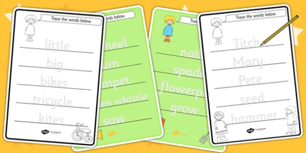 Trace the Words Worksheets to Support Teaching on Titch - tracing, fine motor skills