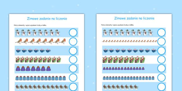 Zimowe zadanie na liczenie do 20 po polsku - matematyka, liczby