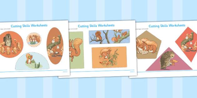 The Tale of Squirrel Nutkin Cutting Skills Worksheet - squirrel nutkin