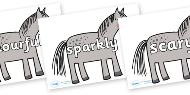 Wow Words on Horse to Support Teaching on What the Ladybird Heard - Wow words, adjectives, VCOP, describing, Wow, display, poster, wow display, tasty, scary, ugly, beautiful, colourful sharp, bouncy