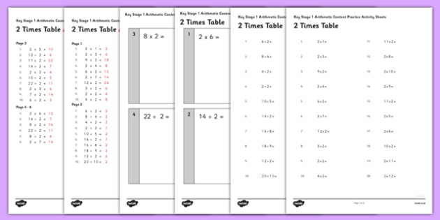 KS1 Arithmetic Content Practice Activity Sheet Pack Recalling the 2 Times Table - arithmetic, content, practice, activity sheets, worksheet