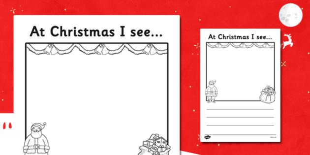 At Christmas I See Writing Frame - At christmas I see, christmas writing frame, christmas themed writing frame, at christmas I see writing frame