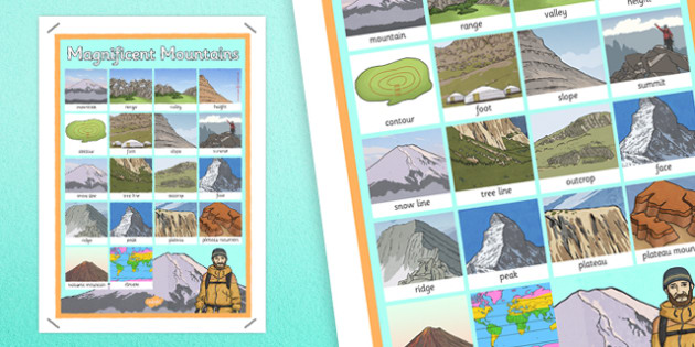 Magnificent Mountains Word Grid - magnificent, mountains, word grid