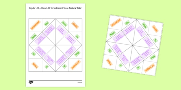 Regular ER, IR and RE Verbs Present Tense Fortune Teller - French
