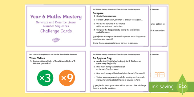 Year 6 Algebra: Generate and Describe Maths Mastery Challenge Cards - year 6, algebra, generate, describe, maths mastery, maths, mastery, challenge cards, challenge, cards