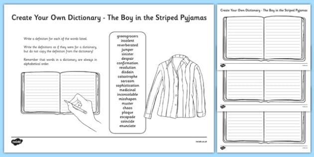 Boy in the Striped Pyjamas Key Vocabulary Create Your Own Dictionary-Scottish