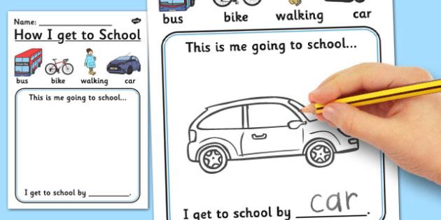 How I Get to School Worksheet - worksheet, how, school, travel
