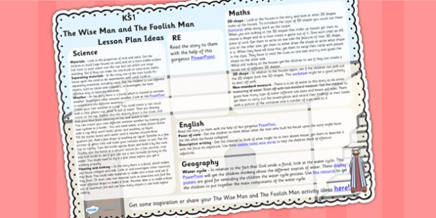 The Wise Man And The Foolish Man Lesson Plan Ideas KS1 - KS1