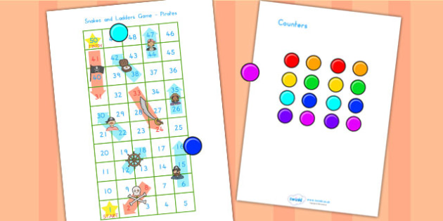 Snakes and Ladders Activity Pirates - pirates, pirate games, game