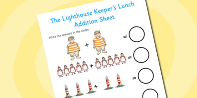 Addition Sheet to Support Teaching on The Lighthouse Keeper's Lunch - the lighthouse keepers lunch, addition, sheet, the lighthouse keepers lunch worksheet, numeracy, math, adding