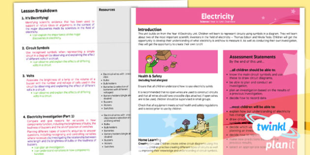 PlanIt Science Y6 Electricity Planning Overview - electricity, voltage, circuits, symbols, current, planning, ks2, key stage 2