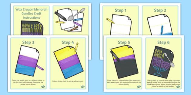 Wax Crayon Menorah Candles Craft Instructions - menorah, craft
