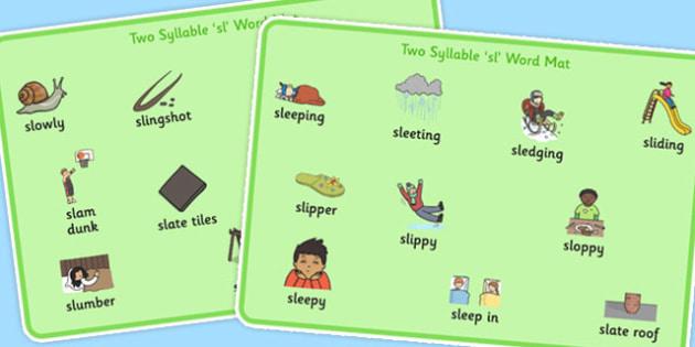 Two Syllable SL Sound Word Mats - sen, sound, sl sound, sl, sen, two syllable, word mats