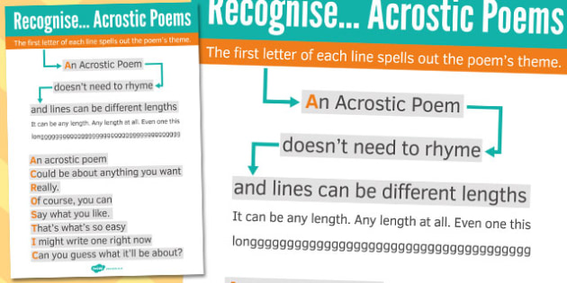 Recognise Some Different Forms of Poetry Acrostics Poster - poem