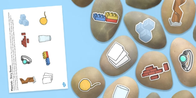 Materials Story Stone Image Cut Outs - Story stones, stone art, painted rocks,  story telling, science, investigation