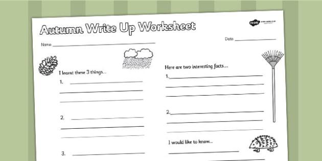 Autumn Write Up Worksheet - seasons, weather, writing, write