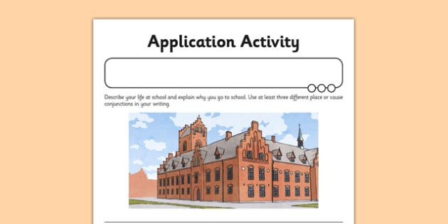 Place and Cause Application Activity Sheet - GPS, sentence, connective, worksheet