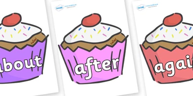 KS1 Keywords on Cupcakes - KS1, CLL, Communication language and literacy, Display, Key words, high frequency words, foundation stage literacy, DfES Letters and Sounds, Letters and Sounds, spelling