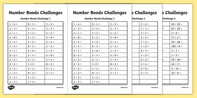 Number Bond Challenge Activity Sheet, worksheet