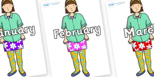Months of the Year on Sam to Support Teaching on Harry and the Bucketful of Dinosaurs - Months of the Year, Months poster, Months display, display, poster, frieze, Months, month, January, February, March, April, May, June, July, August, September