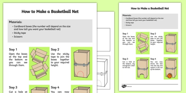 How to Make a Basketball Net Instructions - EYFS, PE, Physical development, ball game