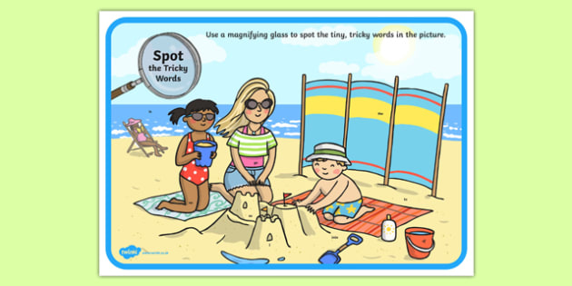 Phase 2 Tricky Words Beach Scene Magnifying Glass Activity Sheet, worksheet
