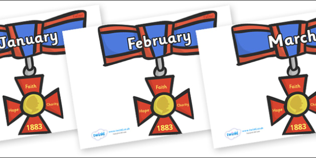 Months of the Year on Medals - Months of the Year, Months poster, Months display, display, poster, frieze, Months, month, January, February, March, April, May, June, July, August, September