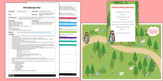 Little Red Riding Hood Song EYFS Adult Input Plan and Resource Pack - little red riding hood, song, pack