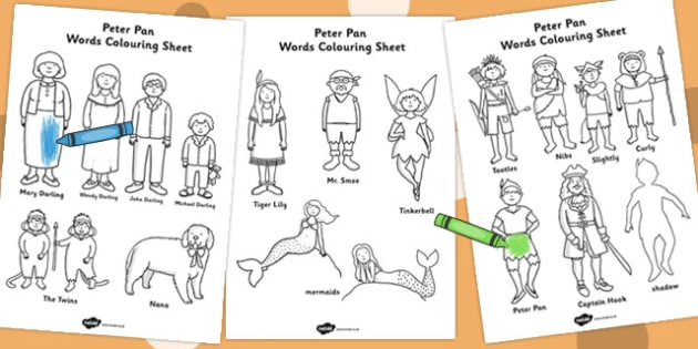 Peter Pan Words Colouring Sheet - worksheets, colour, traditional