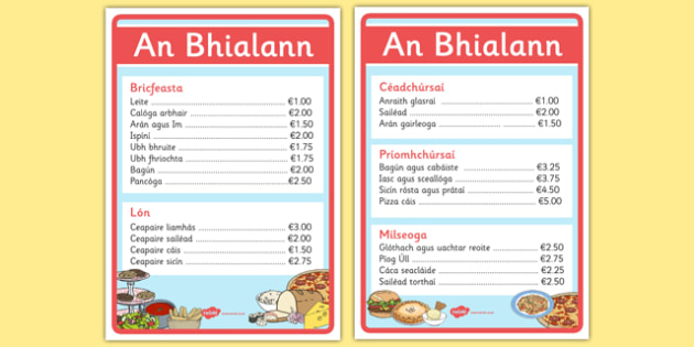 An Bhialann The Restaurant Role Play Menus Irish Gaeilge - restaurant, bialann, an bhialann, food, bia, role play, Aistear, menu, display, resource pack, irish, gaeilge, comhra, menus, biachlar, biachlair