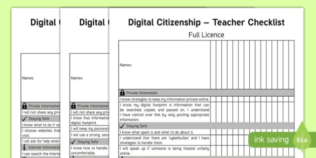 Digital Citizenship Teacher Checklist