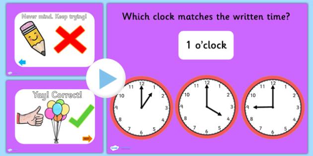 Clock Matching PowerPoint Version 2 - clock, clock matching, powerpoint, matching powerpoint, games, clock matching game, time, telling time, numeracy
