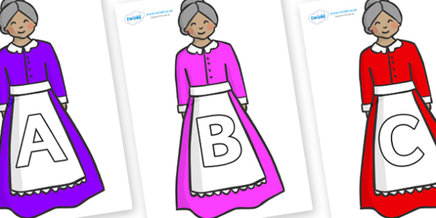 A-Z Alphabet on Old Mother Hubbard - A-Z, A4, display, Alphabet frieze, Display letters, Letter posters, A-Z letters, Alphabet flashcards