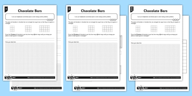 Differentiated Chocolate Bars Missing Number Puzzles Activity Sheet Pack - problem solving, maths, scaling, twice as big, three times as big, multiplying, differentiated activity, worksheet