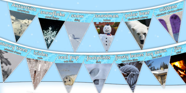 Winter Photo Display Bunting Polish Translation - polish, winter, photo, display bunting, display, bunting, photographs