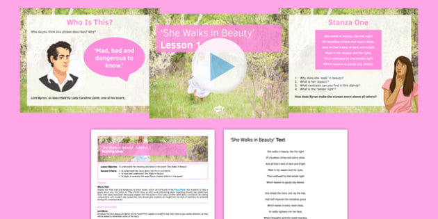 She Walks in Beauty Lesson Pack 1: Introduction - She Walks in Beauty, Lord Byron, Romantics, poetry